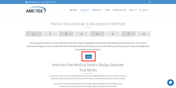 Getting started with the Arrotek medical device design and development calculator
